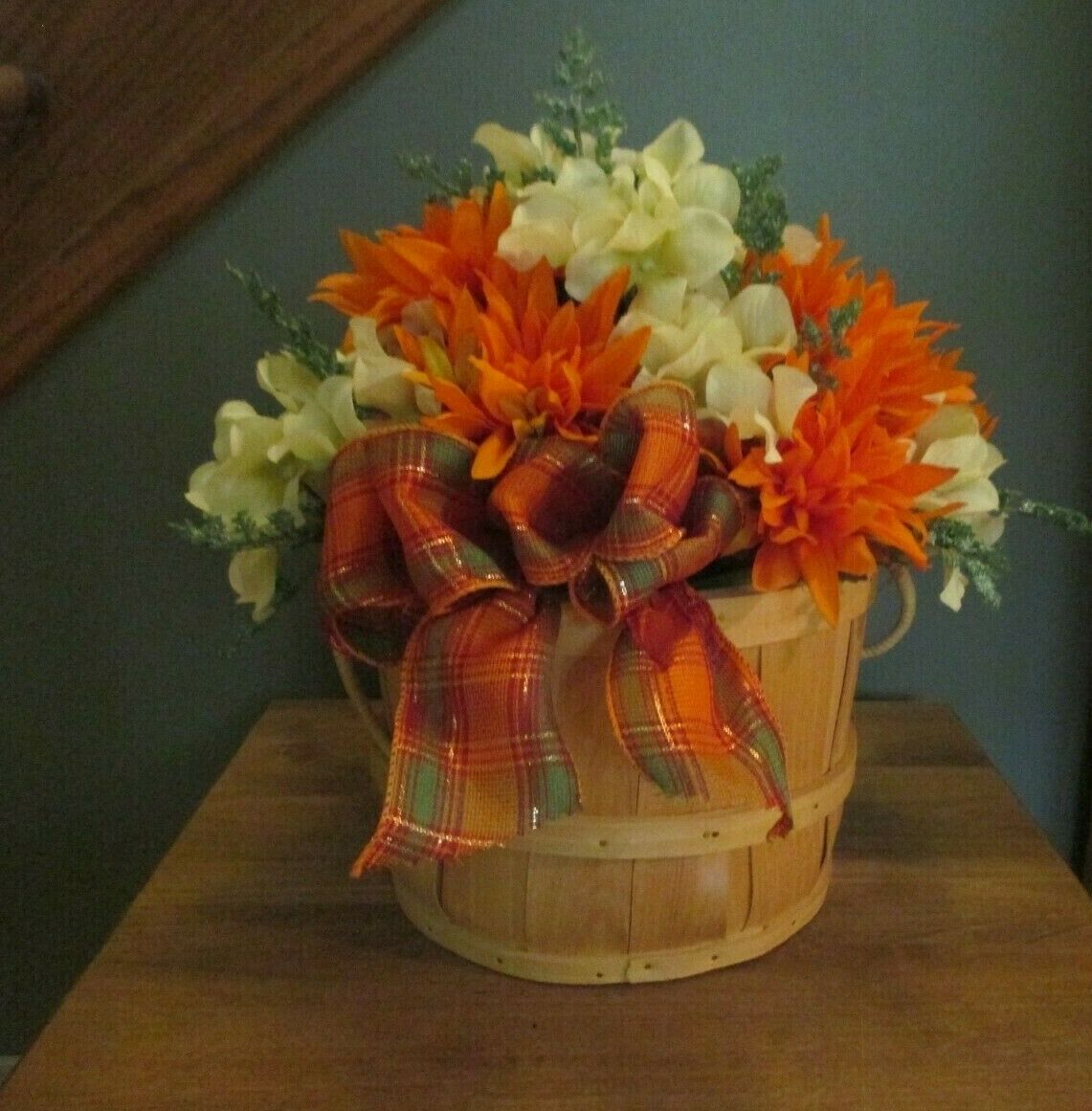 Handmade Fall Flower Arrangement In Basket Plaid Bow 12 H For Sale Online