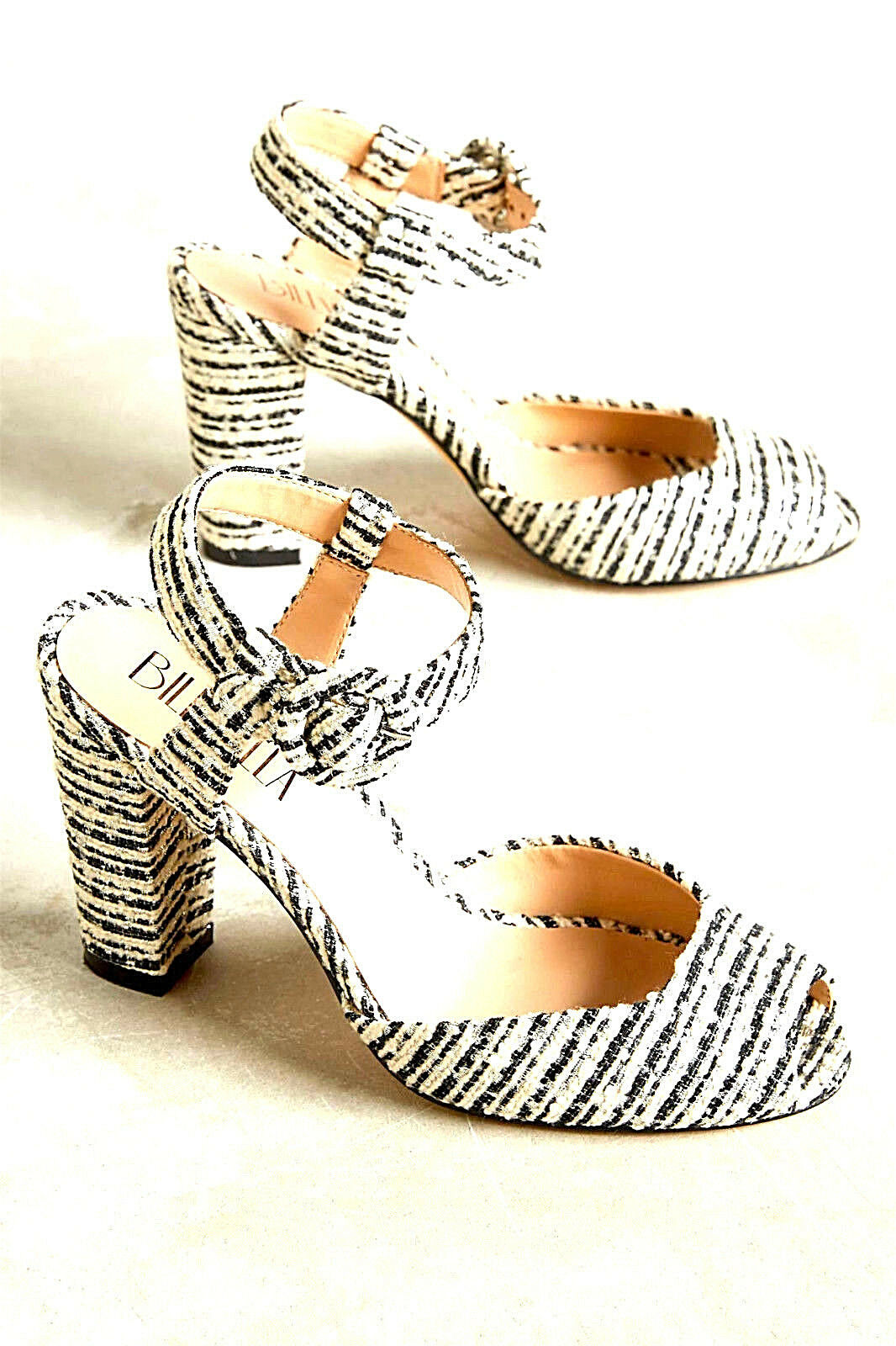 NEW IVORY NIB 148 ANTHROPOLOGIE CC COUTURE STYLE BLACK & IVORY NEW BOUCLE SANDALS HEELS 6 8b344f