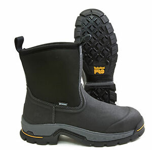 ee0958cb019 Details about Timberland PRO Stockdale Black Leather Alloy Toe Waterproof  Work Boot A1AXG001