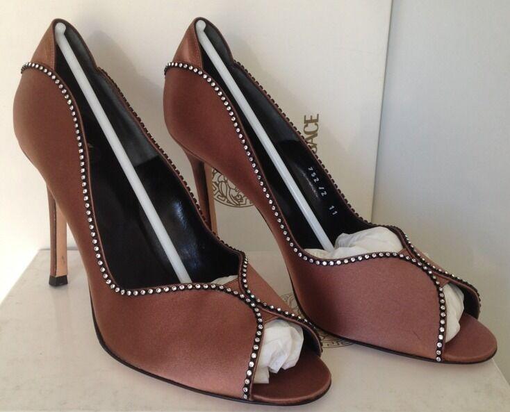 VERSACE High Heels Peep Toes Pumps Stilettos Leder Braun Strass Gr. 41