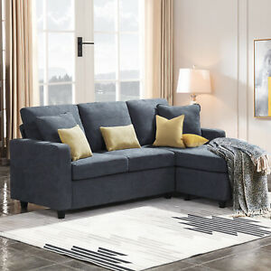 Dark Grey Sectional Sofa L Shaped Couch W Reversible Chaise For Small Space Ebay