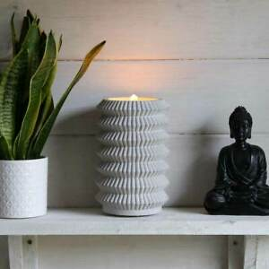 Battery Power Indoor Grey Concrete Zen Bubbling Water Fountain With Led Lights Ebay