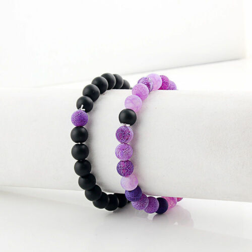2PCS Distance Bracelets Agate/&Cracked Stone Beaded Lovers Couples Gift Jewelry