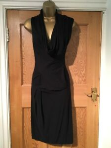 All Soft Jersey Saints Womens £120 Dress Artemis Draped 6 Black Stunning Bodycon ggrpWB