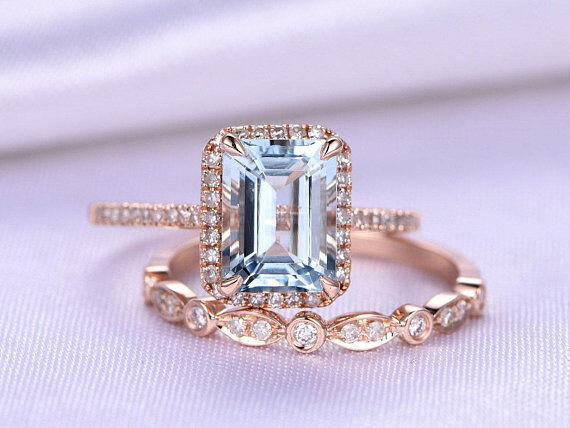 2ct Emerald Cut Topaz Vintage Bridal Set Engagement Ring 14k pink gold Finish