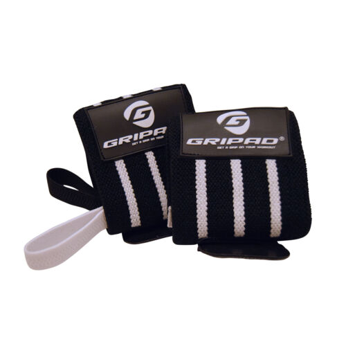 Black /& White Gripad Wrist Wraps