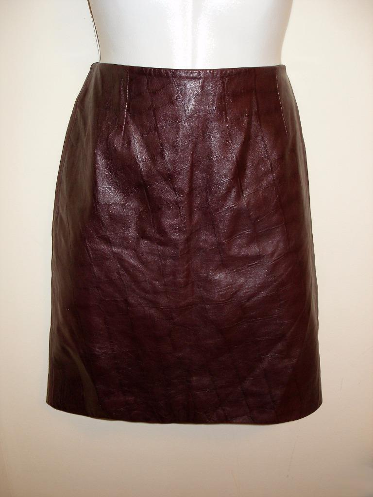 MARGARET GODFREY Genuine Leather Maroon Red Burgundy A-Line Mini Skirt Size 10