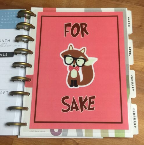 For Fox Sake Two-Sided Dashboard for use with Happy Planner