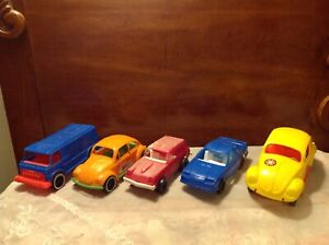 Lot Of Five Vintage Plastic Toy Cars Gay Toys Strombecker Amloid Ebay