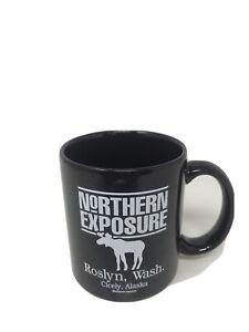 Northern-Exposure-Coffee-Mug-Black-With-White-Logo-Roslyn-Cicely-Alaska-Moose