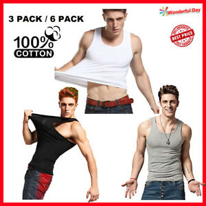 3-6-Packs-Mens-100-Cotton-Tank-Top-A-Shirt-Wife-Beater-Undershirt-Ribbed-Black