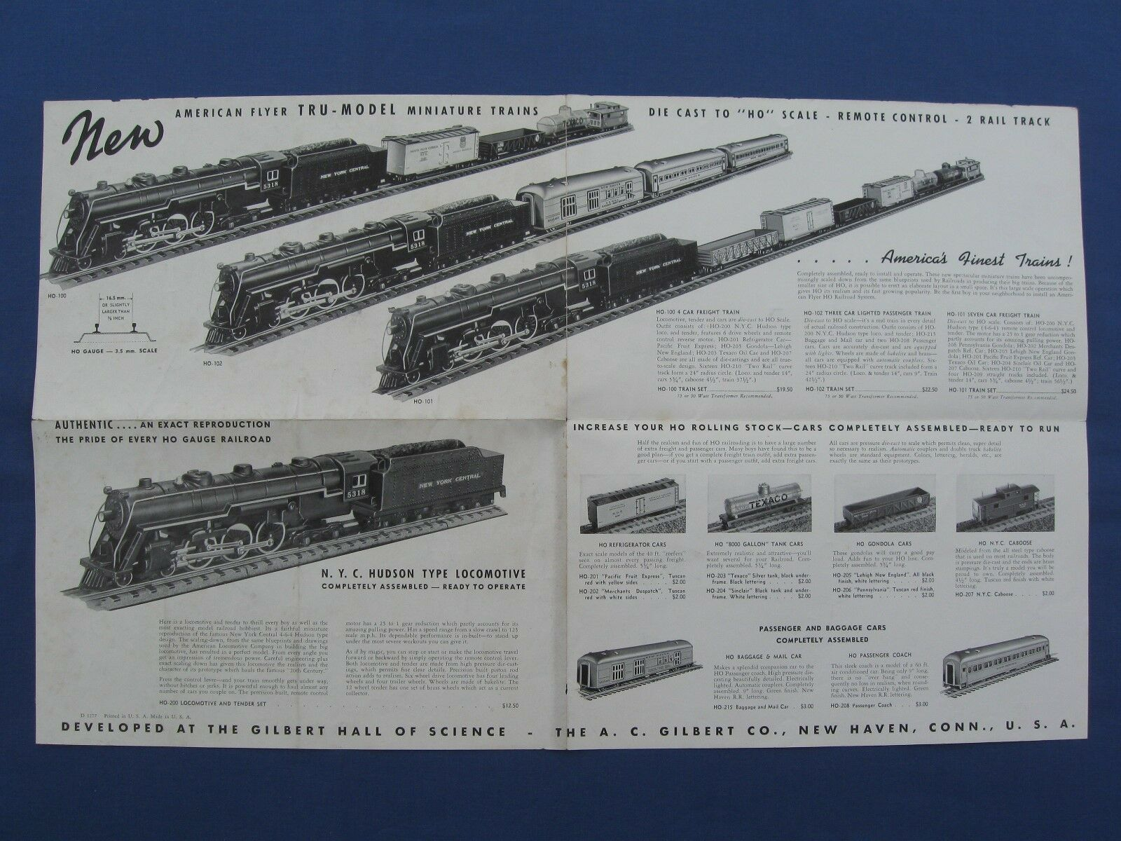 A.C.GILBERT  1939 HO GAUGE FOLDER D1277, ORIGINAL