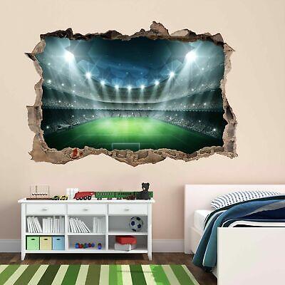 STADE de FOOTBALL Arena LIGHTS Stars 3D Autocollant Mural Mural Décalcomanie Enfants Pièce CT66