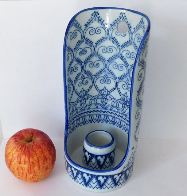 "Unidentified ceramic cylinder 8"" tall blue white toilet roll or candle holder?"
