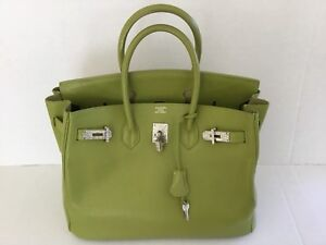 5f763e85515 100% Authentic Hermes Birkin 35cm Kiwi-Color Bag .France