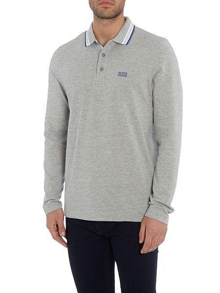 Hugo Boss polo shirt long sleeve grey men size L Model plisy