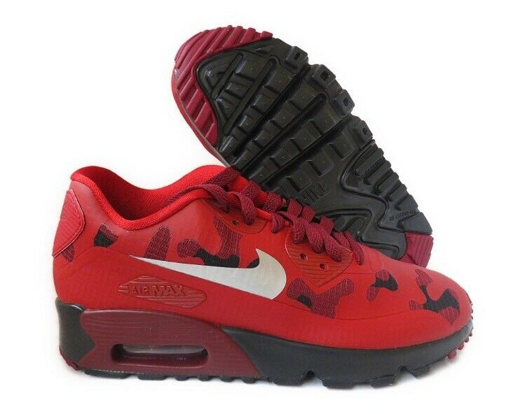 Nike Air Max 90 NS SE Youth Red CAMO Black Gym Triple Bred 1 95 869946 600 GS 7Y