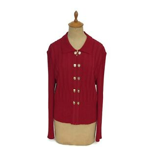 St-John-Collection-By-Marie-Gray-Women-039-s-Red-Cable-Santana-Knit-Jacket-Sz-12-S1