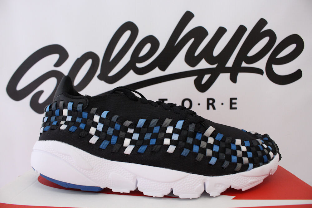 Nike air footscape tessuti nm nero blue jay bianco 875797 005 sz - 9