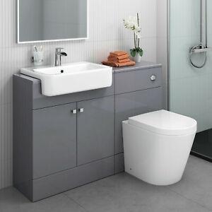 Gloss Grey Vanity Unit Toilet