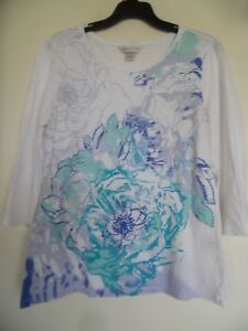 CHRISTOPHER-amp-BANKS-Women-039-s-White-Floral-Knit-Top-3-4-Sleeve-Shirt-Size-S