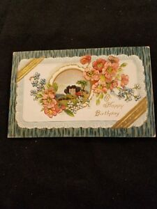 Image Is Loading A Happy Birthday Vintage Postcard 528 Flowers And