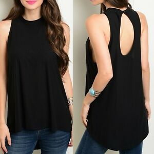 6d4e368706aa71 Black Open Back Sleeveless Lightweight Jersey Hi-Low Tank Blouse Top ...