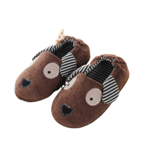 Boys Girls Soft Plush Slippers Cartoon Warm Indoor Slip on Winter House Shoes