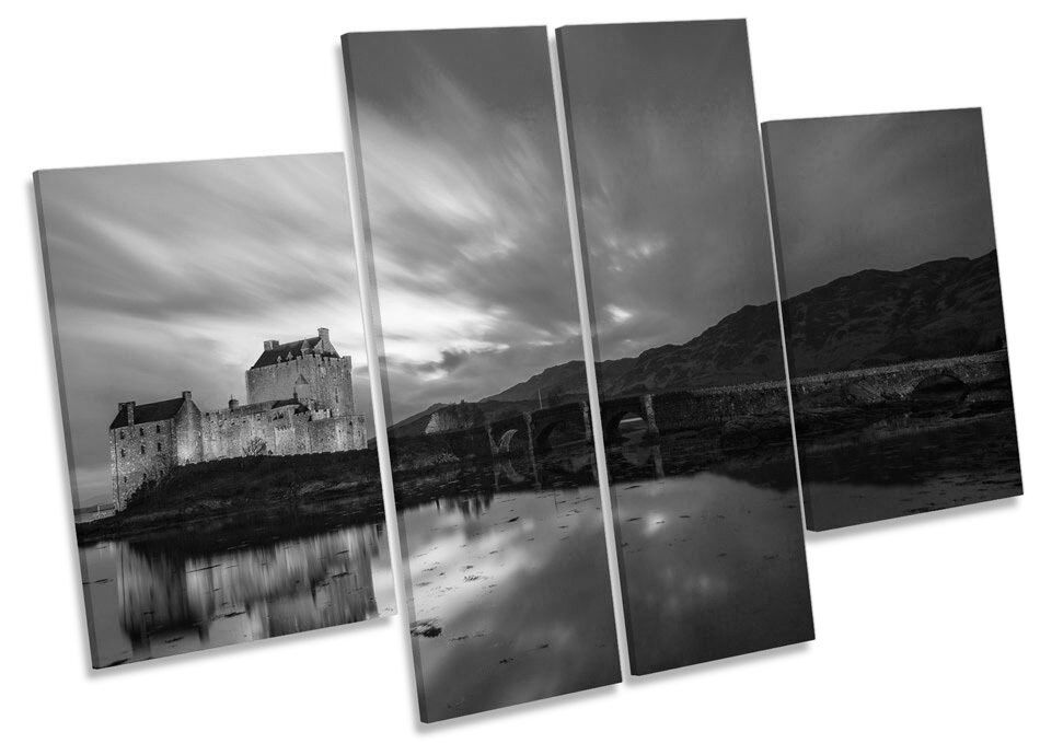 Eilean Donan Castle Scotland B&W CANVAS Wand Kunst MULTI Panel Drucken Box Frame