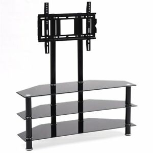 Hodedah Hitv2502 42 Inch Glass Tv Stand With Mount 3 Ft Ebay