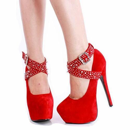 Hebilla de Correa Plataforma bomba Remaches de tobillo Zapato para Clubwear aguja mujeres altos Tacones de qqwXY