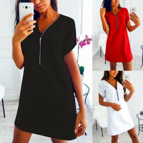 Women Casual Short Sleeve V Neck Zipper Shirt Loose Party Evening Mini Dress