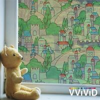 Kids Stained Glass Town Frosted Window Decorative Privacy Film DIY matte glass