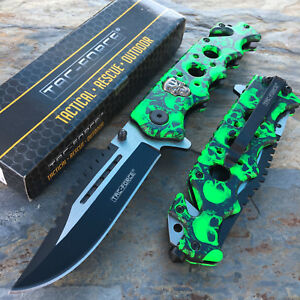 TAC-FORCE-Green-Skull-Camo-Camping-Hunting-Tactical-Rescue-Pocket-Knife