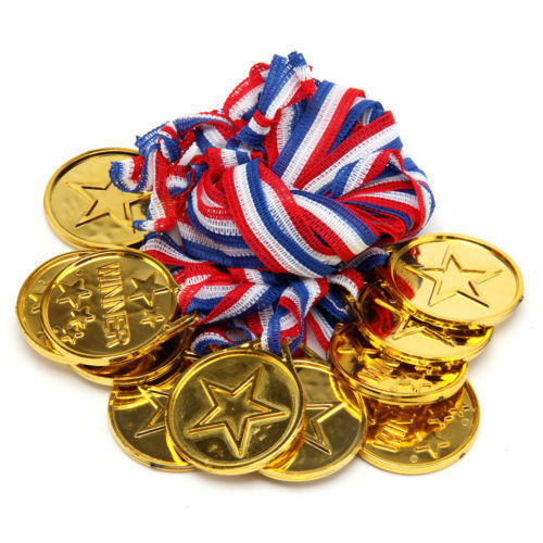 Gold Plastic Winners Medals Sports Day Party Bag Prize Awards Toy