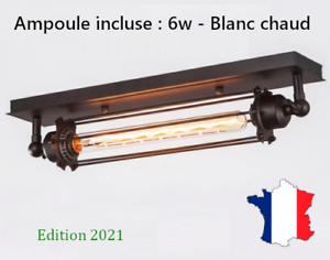 Lampe noire métal style industriel loft Ampoule LED incluse murale ou plafonnier