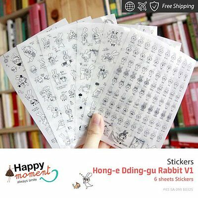 Hong-e Dding-gu Rabbit V1 Stickers For Diary Day Planner & Organizer 6 sheets
