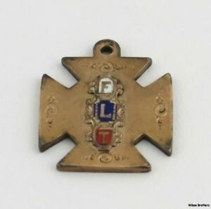 Odd-Fellows-Vintage-FLT-Cross-Fob-Charm-3-Rings-fraternal-Collectible-IOOF
