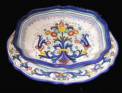 DERUTA POTTERY RICCO  PATTERN PLATTER AND BOWL SET, HAND PAINTED IN ITALY