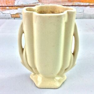 "1940s McCoy Pottery Art Deco Petite Vase White Dry Bottom 5"" Authentic Unmarked"