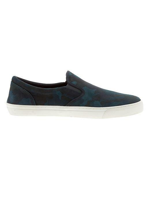 Banana Republic Men's Shawn Suede color Navy camo Slip-On shoes NWT sz 9.5US