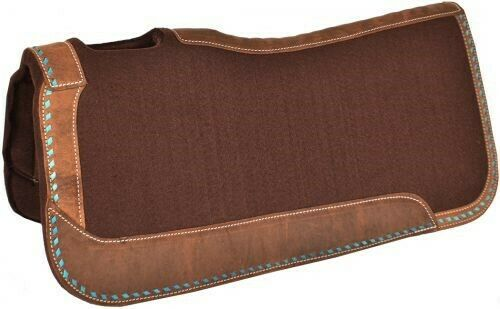 Showman 32 x31 x1  braun Felt Saddle Pad w  TURQUOISE Buck Stitch NEW