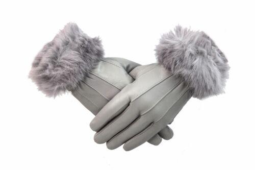 Damen Weinrot Leder Handschuhe mit Pelz Trimm Fleecefutter Warm Winter