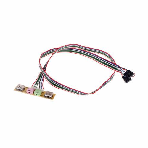 2 Usb Pc Computer Case Front Panel Usb Audio Port Mic Earphone Cable 7.8Cm SL