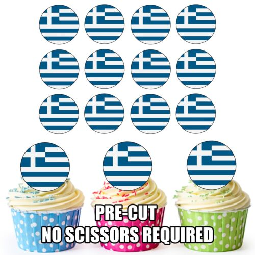 Cup Cake Toppers Decorations Party Birthday 24 Circle Greece  Flags