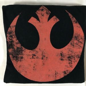 Star-Wars-Official-Distressed-Red-Rebel-Alliance-Insignia-Black-T-Shirt-Men-039-s-L