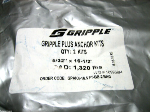 "5//32/""x16-1//2/"" ** 2 PACK** GRIPPLE PLUS ANCHOR KITS GPAK4-16.5FT-BB-2//BAG"