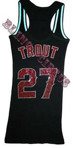 check out 9e800 d5b60 Details about Angels Bling Womens Mike Trout Sparkle Anaheim Jersey Tank  Top T Shirt Fast SHIP