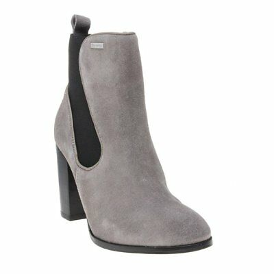 New Womens Superdry Grey Fleur Heel Chelsea Suede Boots Ankle Elasticated Pull