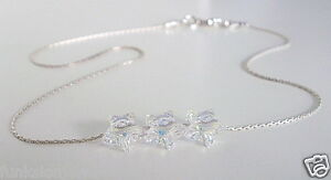 Dainty Crystal Ankle Bracelet Sterling Silver Anklet Made With